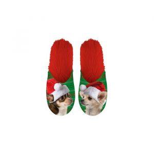Paire de Pantoufles motif Chien de Noel