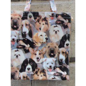 Petit sac decore de differentes tetes de chiens