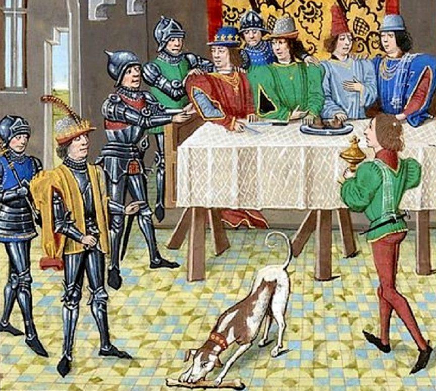 10. Chien devorant un os de gigot lors dun banquet.